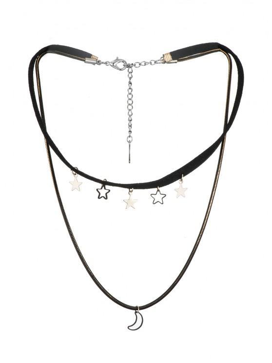 fashion Moon Stars Layered Cord Choker Necklace - BLACK