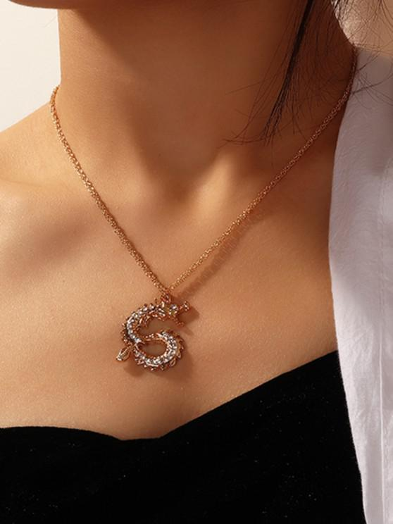 fancy Rhinestone Chinese Dragon Chain Necklace - GOLDEN
