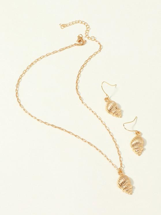 online Conch Pendant Earrings Necklace Set - GOLDEN