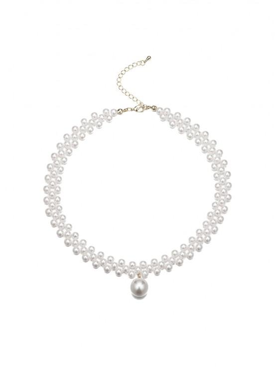 new Faux Pearl Beaded Choker Necklace - WHITE