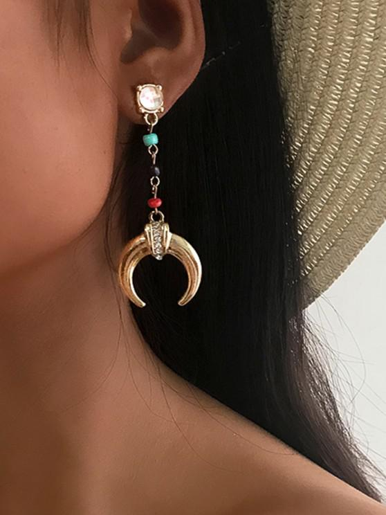 shops Bohemian Beaded Moon Long Drop Earrings - MULTI-A