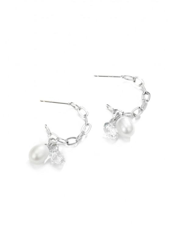 online Rhinestone Pearl Chain Dangle Earrings - SILVER