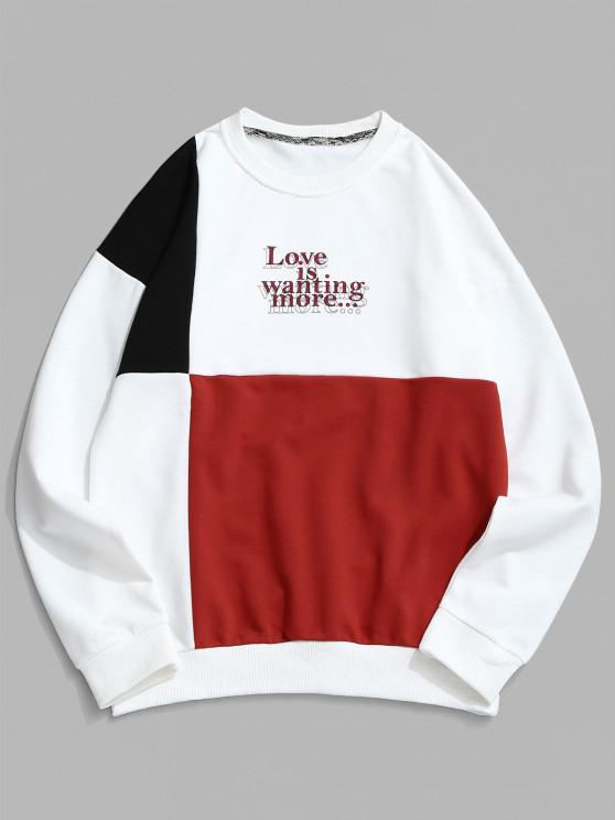 women's Color Spliced Letter Print Casual Sweatshirt - WHITE 2XL