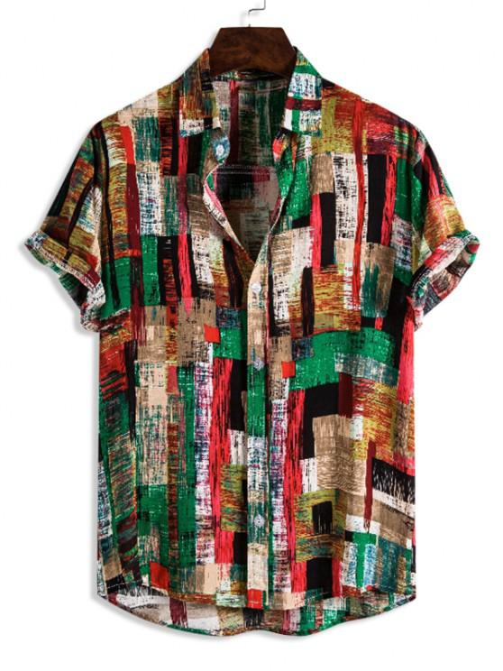 ladies Colorful Brush Stroke Print Button Up Casual Shirt - GREEN 3XL
