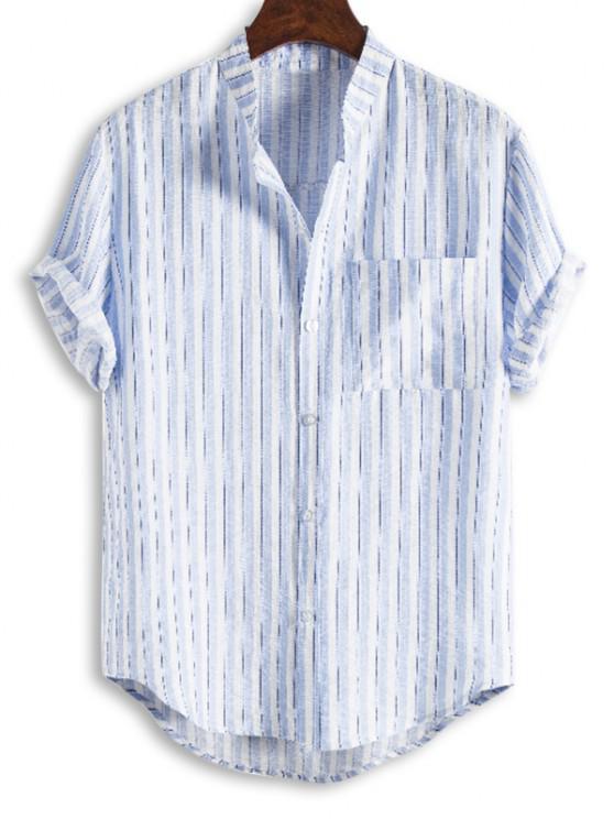 hot Vertical Striped Pocket Stand Collar High Low Shirt - WHITE 3XL