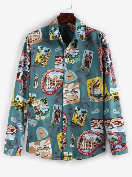 ZAFUL Graphic Print Long Sleeve Vintage Shirt - ديب غرين 2XL