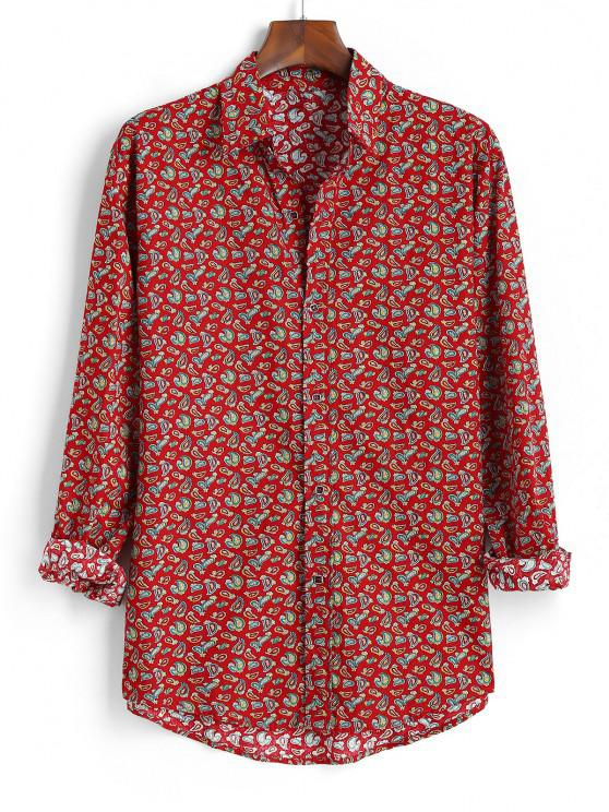 Tiny Paisley Print Button Up High Low Shirt - أحمر 2XL
