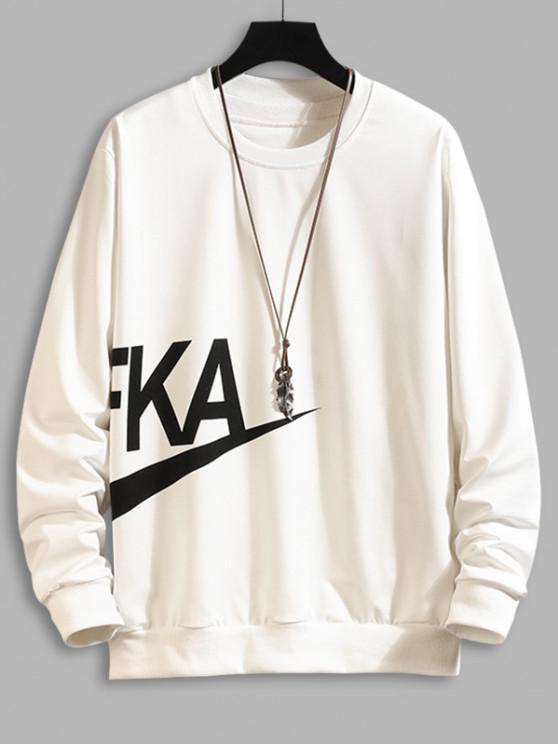 outfits Letter Print Crew Neck Sweatshirt - WHITE L