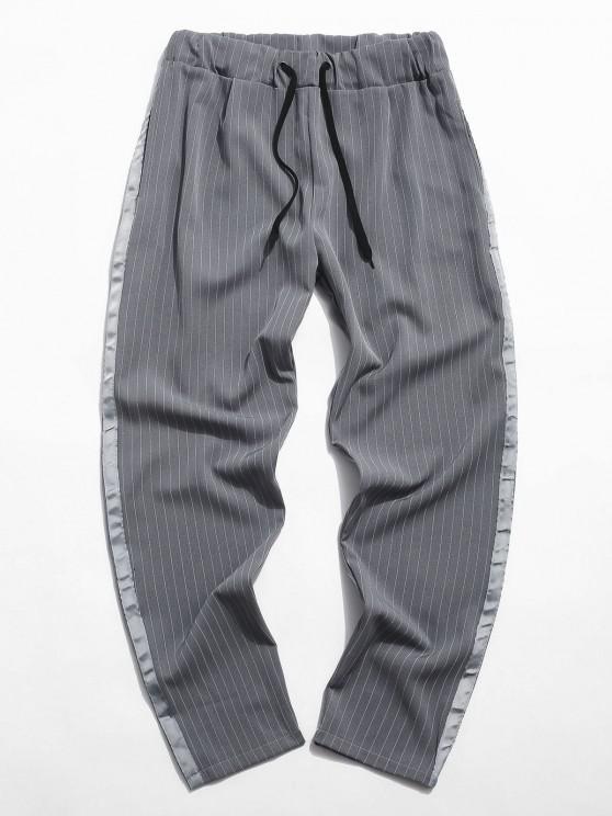 Pantalones Cintura Elástica Tela a Rayas - Gris 2XL