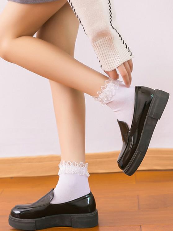 unique Ruffle Lace Edge Anklet Socks - WHITE