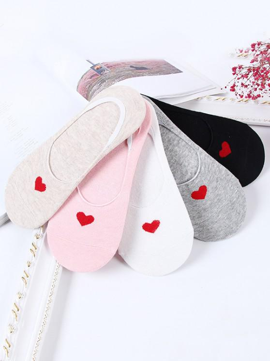 buy 5Pairs Heart Pattern Invisible Socks Set - MULTI-A