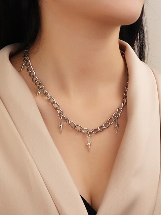 outfit Lightning Charm Chain Necklace - SILVER