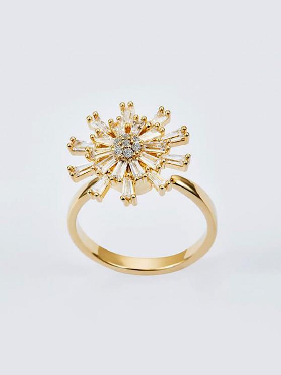 lady Rotatable Chrysanthemum Zircon Open Ring - GOLDEN