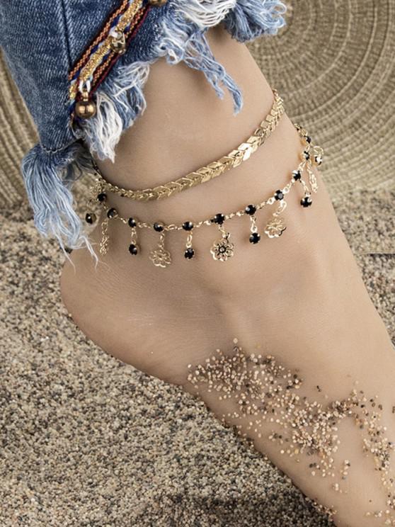 women 2Pcs Herringbone Hollow Flower Anklet Set - GOLDEN