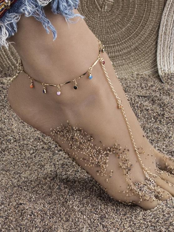 women's Bohemian Toe Loop Charm Anklet - GOLDEN