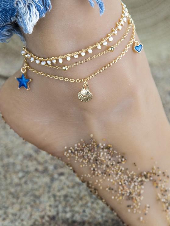 3Pcs Shell Star Heart Anklet Set - ذهبي