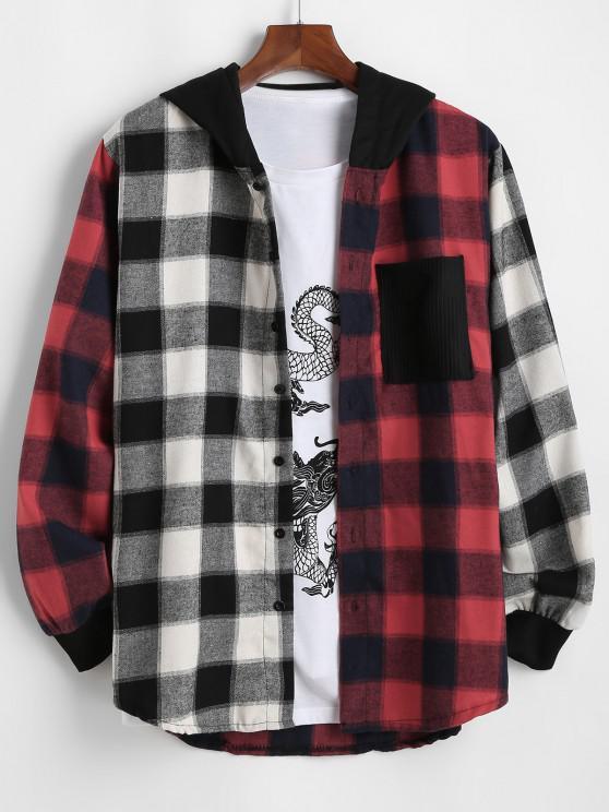 Contrast Plaid Pocket Patchwork Hooded Shirt - أبيض L