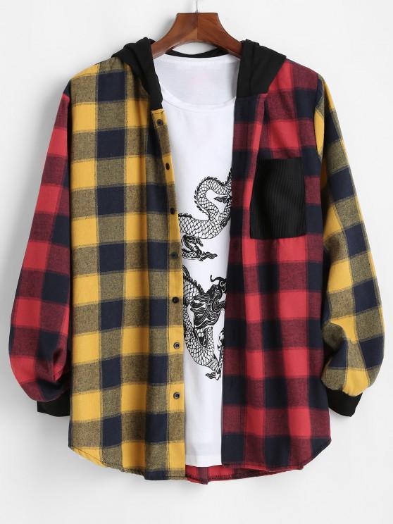 Contrast Plaid Pocket Patchwork Hooded Shirt - أحمر 2XL