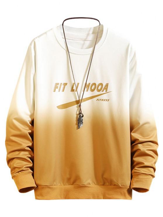 Sweat-shirt Ombré à Lettre Imprimée - Jaune XL
