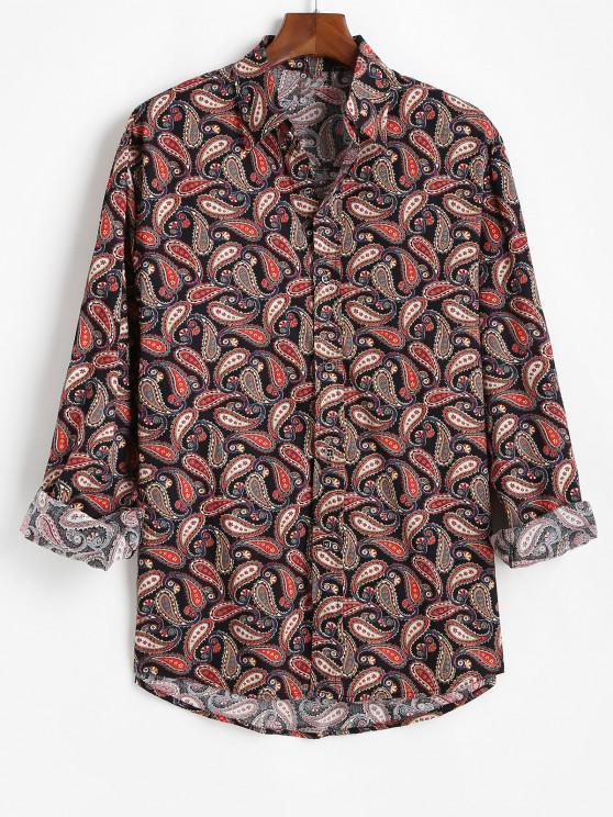 Allover Paisley Print Vintage Long Sleeve Shirt - أسود 3XL