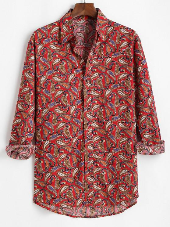 affordable Allover Paisley Print Vintage Long Sleeve Shirt - RED 3XL