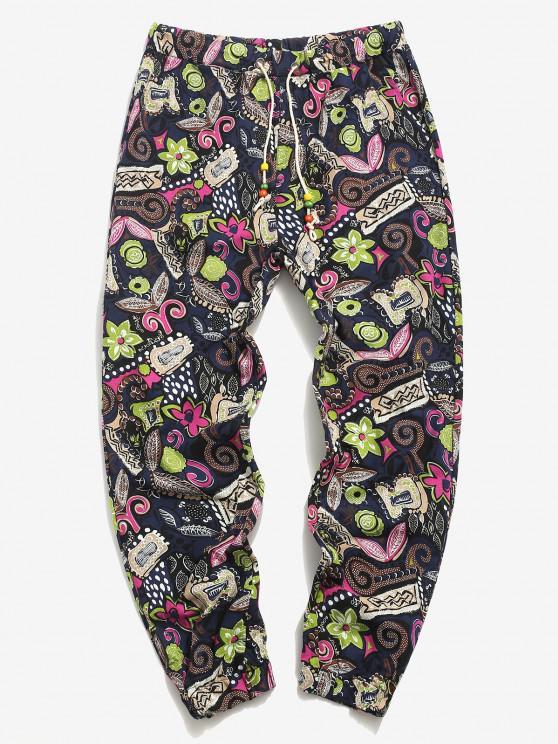 Allover Floral Print Ethnic Linen Pencil Pants - ازرق غامق 2XL