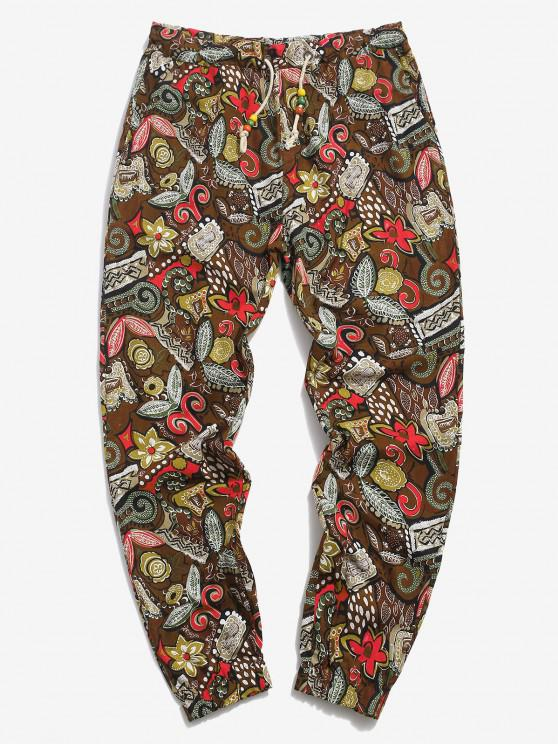 best Allover Floral Print Ethnic Linen Pencil Pants - COFFEE 2XL