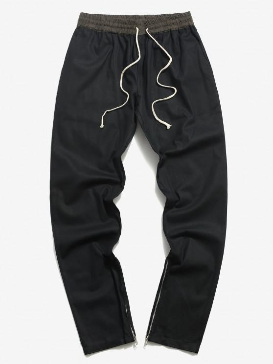 hot Zipper Slit Tapered Casual Pants - BLACK XL