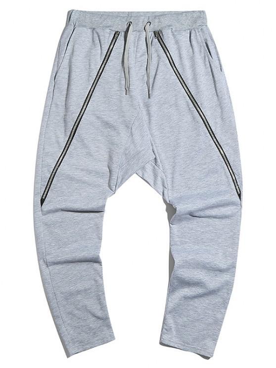 Pantalones Casuales con Detalle de Cremallera - Gris Claro L