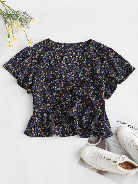 hot Peplum Hem Floral Tie Front Blouse - BLACK M