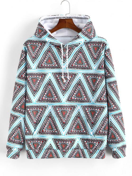 Moletom com capuz e padrão geométrico - Azul de Coral M