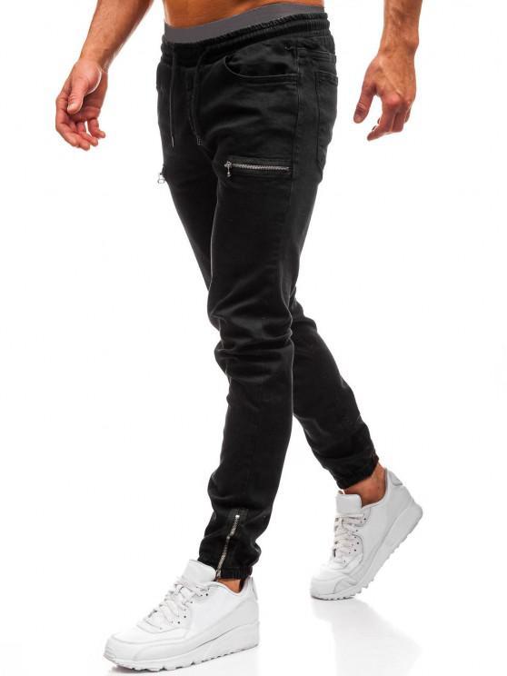 Zipper Embellishment Elastic Waist Jeans - أسود M