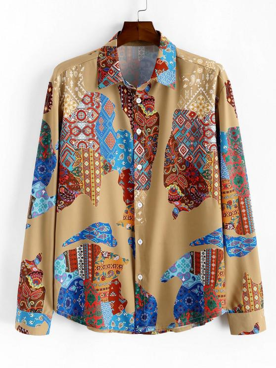 Ethnic Map Print Button Up Casual Shirt - متعدد S