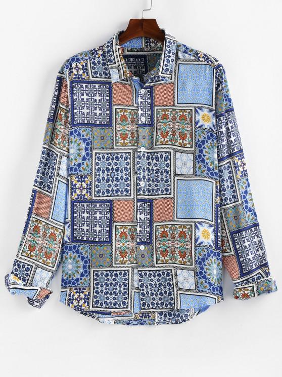 new ZAFUL Pattern Block Casual Dip Hem Shirt - JEANS BLUE M