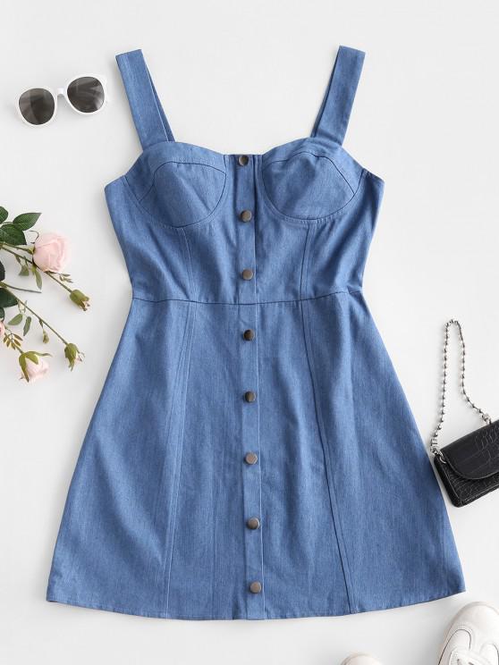 ZAFUL Mock Button Bustier Denim Dress - أزرق فاتح L