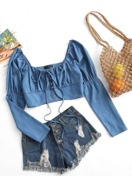 hot ZAFUL Cropped Lace Up Chambray Blouse - BLUE XL