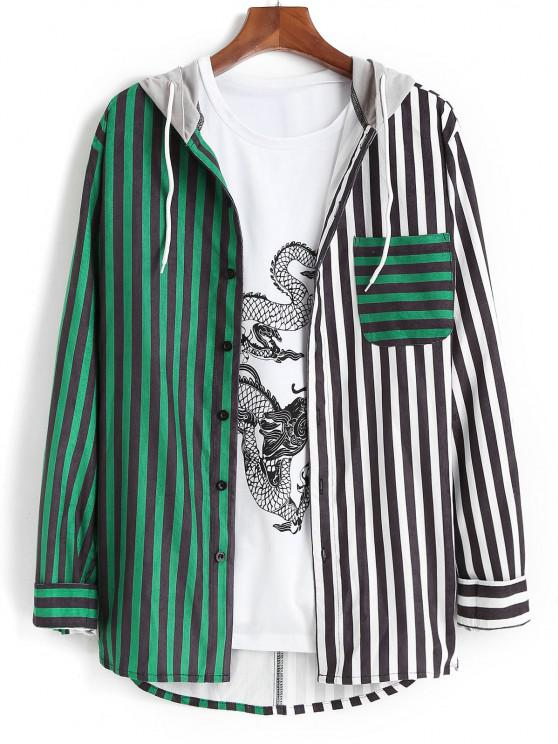 outfit Colorblock Striped Hooded Drawstring Corduroy Shirt - DEEP GREEN XL