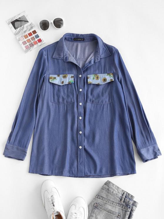 ZAFUL Chambray Flower Print Pocket Shirt - أزرق فاتح XL