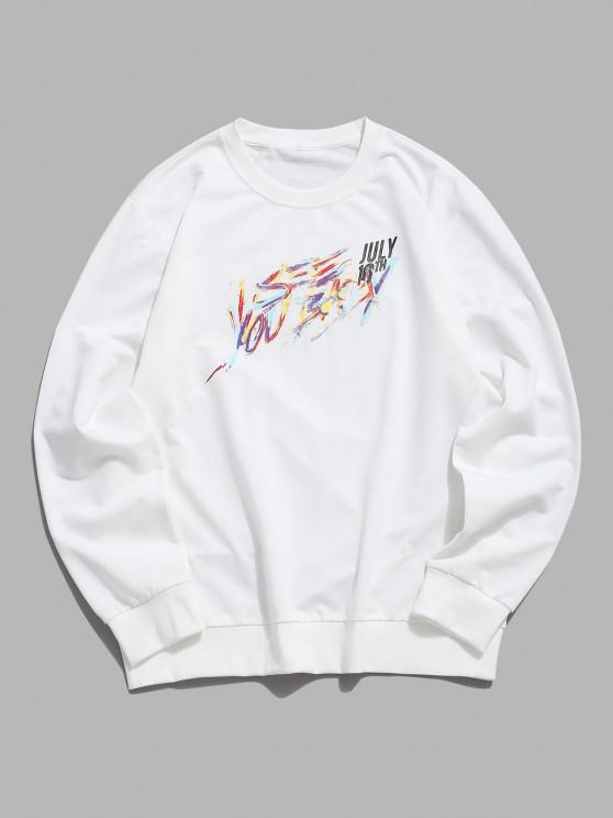 womens Pullover Crew Neck Letters Sweatshirt - WHITE XS