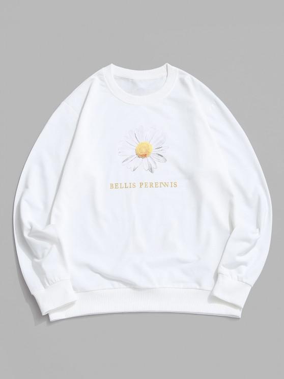 latest Daisy Letter Print Crew Neck Sweatshirt - WHITE XL