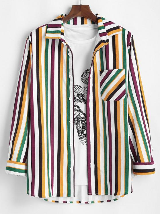 women's Colorful Striped Pocket Corduroy Long Sleeve Shirt - MULTI S