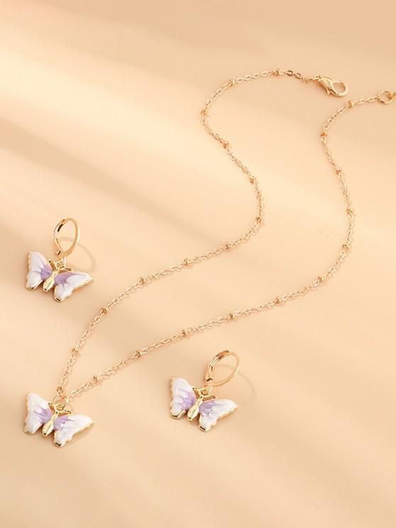 Butterfly Earrings Necklace Set - خبازي