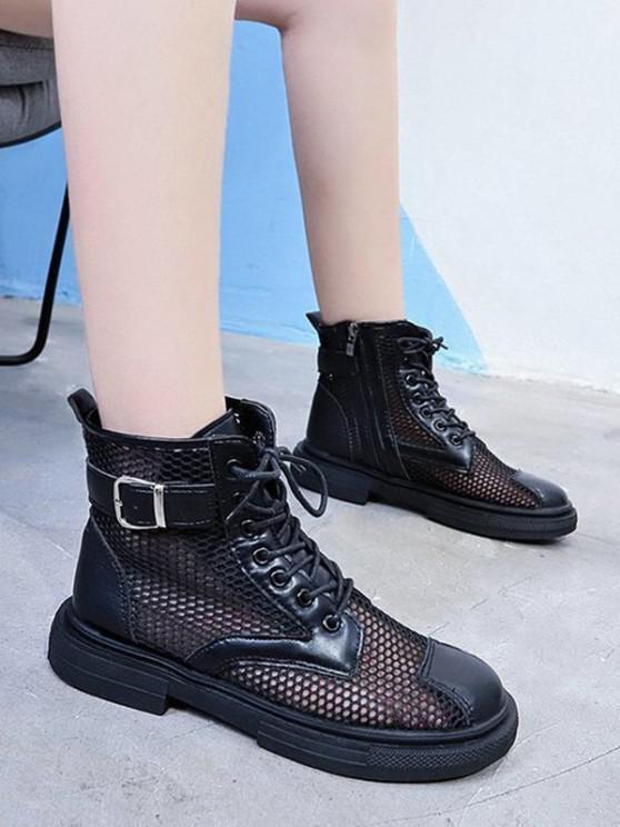 women Mesh Lace Up Ankle Boots - BLACK EU 38