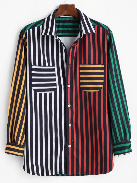 Camisa do Veludo de Algodão de Bloco de Cores Listrado - Multi 2XL