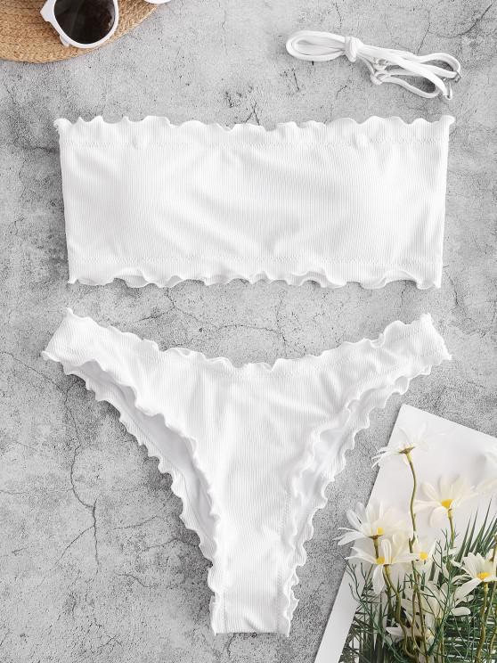 shop ZAFUL Lettuce Trim Ribbed Bandeau Bikini Swimsuit - WHITE S