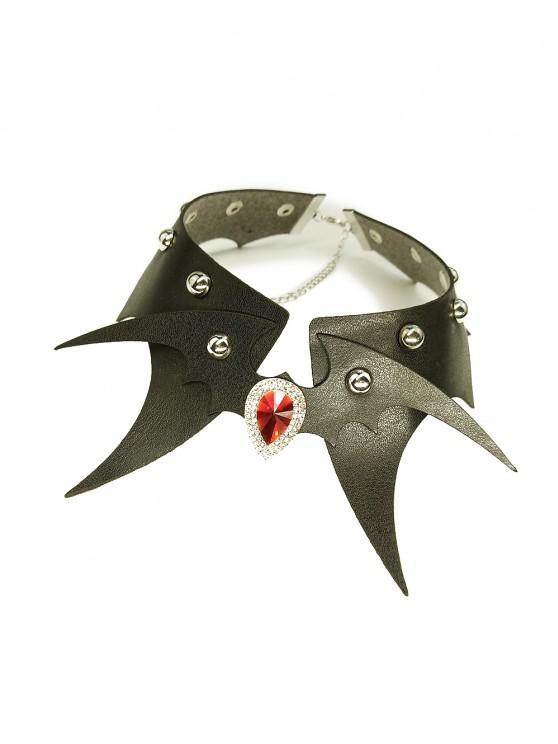 Halloween PU Bat Rivet Choker Necklace - ثعبان أسود