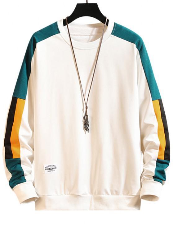 Color Blocking Panel Crew Neck Sweatshirt - أبيض XS