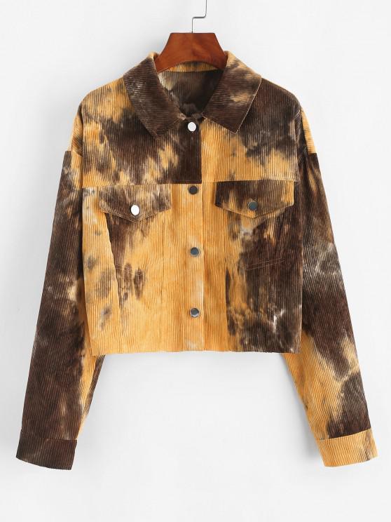 shop ZAFUL Corduroy Tie Dye Jacket - MULTI-A M