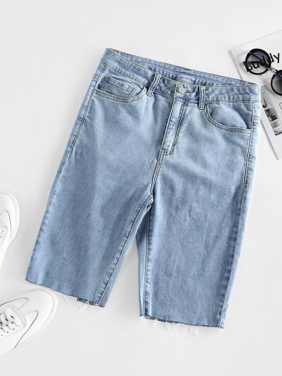 hot ZAFUL High Waisted Raw Hem Bermuda Denim Shorts - BLUE M