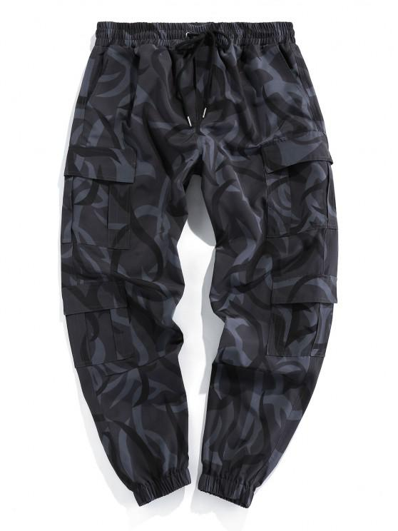 ZAFUL Camouflage Print Cargo Pants - أسود 2XL